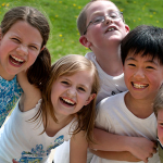 Children laughing in park